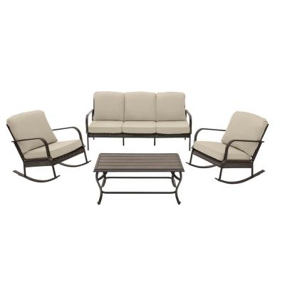 Becker 4-Piece Dark Mocha Steel Outdoor Patio Seating Set with CushionGuard Putty Tan Cushions