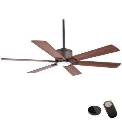 Renwick 54 in. Integrated LED Oil Rubbed Bronze Ceiling Fan with Remote Control works with Google and Alexa