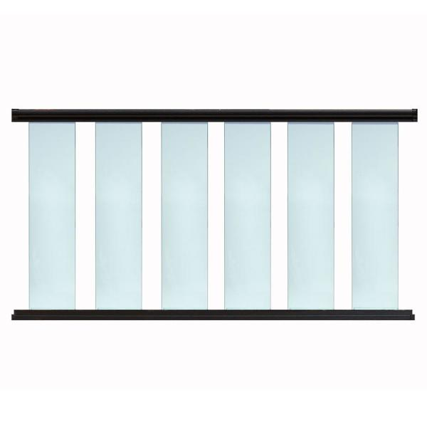 8 ft. x 42 in. Aluminum Textured Black 8 in. Glass Baluster Rail Kit