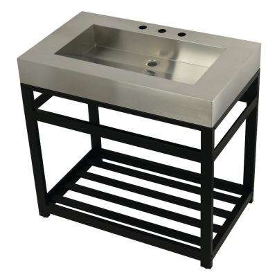 37 in. W Bath Vanity in Matte Black with Stainless Steel Vanity Top in Silver with Silver Basin