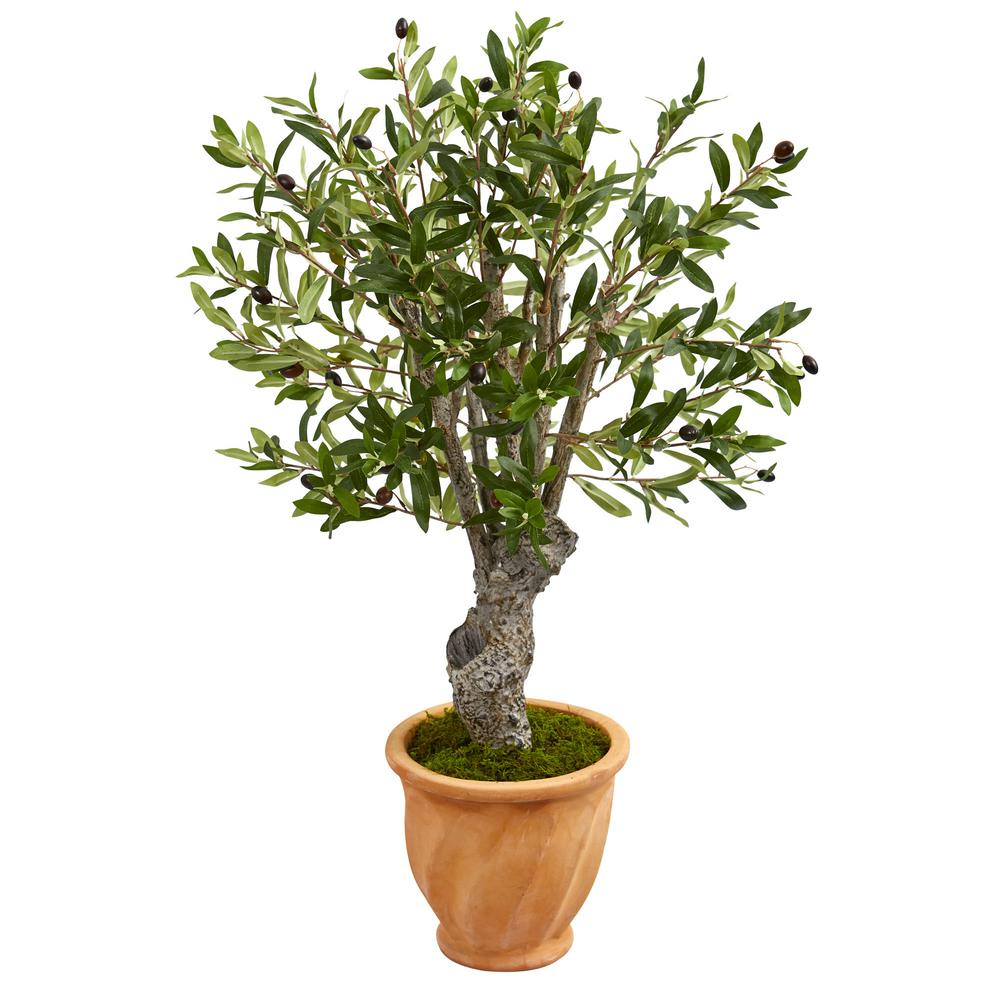 3 ft. High Indoor Olive Artificial Tree in Terracotta Planter