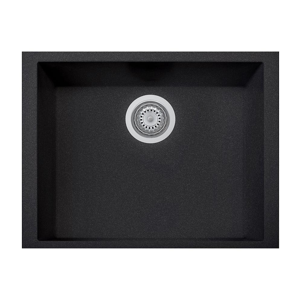 One Drop-in Granite Composite 20 in. 1-Hole Single Bowl Kitchen Sink in Black Metallic
