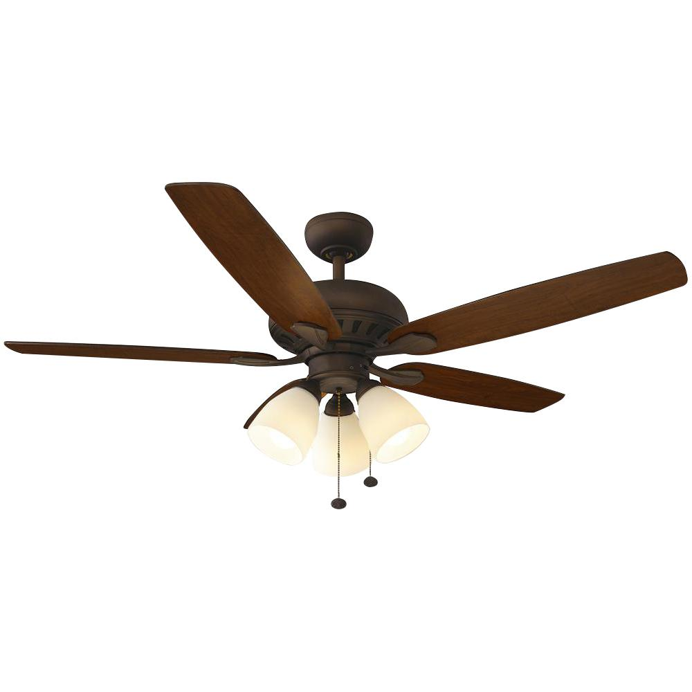 Hampton Bay Rockport 52 in. LED Oil Rubbed Bronze Ceiling Fan with on
