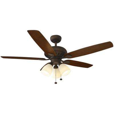 Rockport 52 in. LED Oil Rubbed Bronze Ceiling Fan with Light Kit