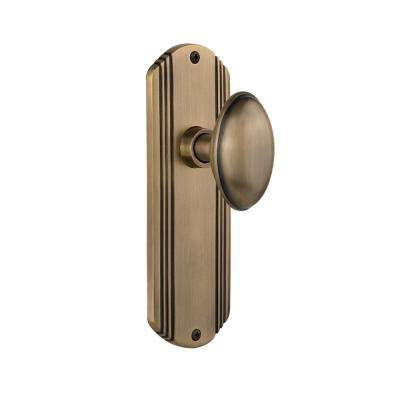 Deco Plate 2-3/4 in. Backset Antique Brass Privacy Homestead Door Knob