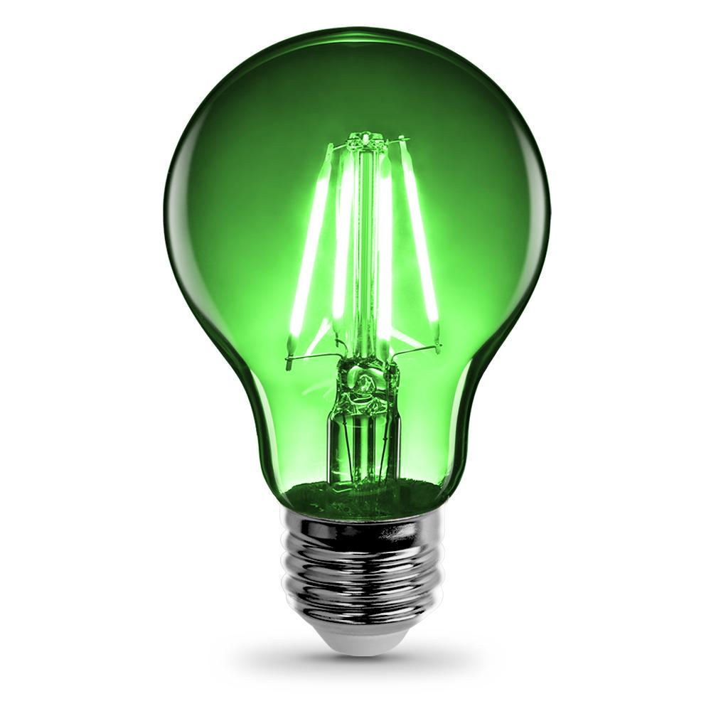 Feit Electric 3 6 Watt Green A19 Filament Led Light Bulb Case Of 12 A19 Tg Led 12 The Home Depot