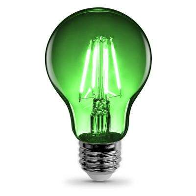 25-Watt Equivalent A19 Medium E26 Base Dimmable Filament LED Light Bulb Green Colored Clear Glass (1-Bulb)