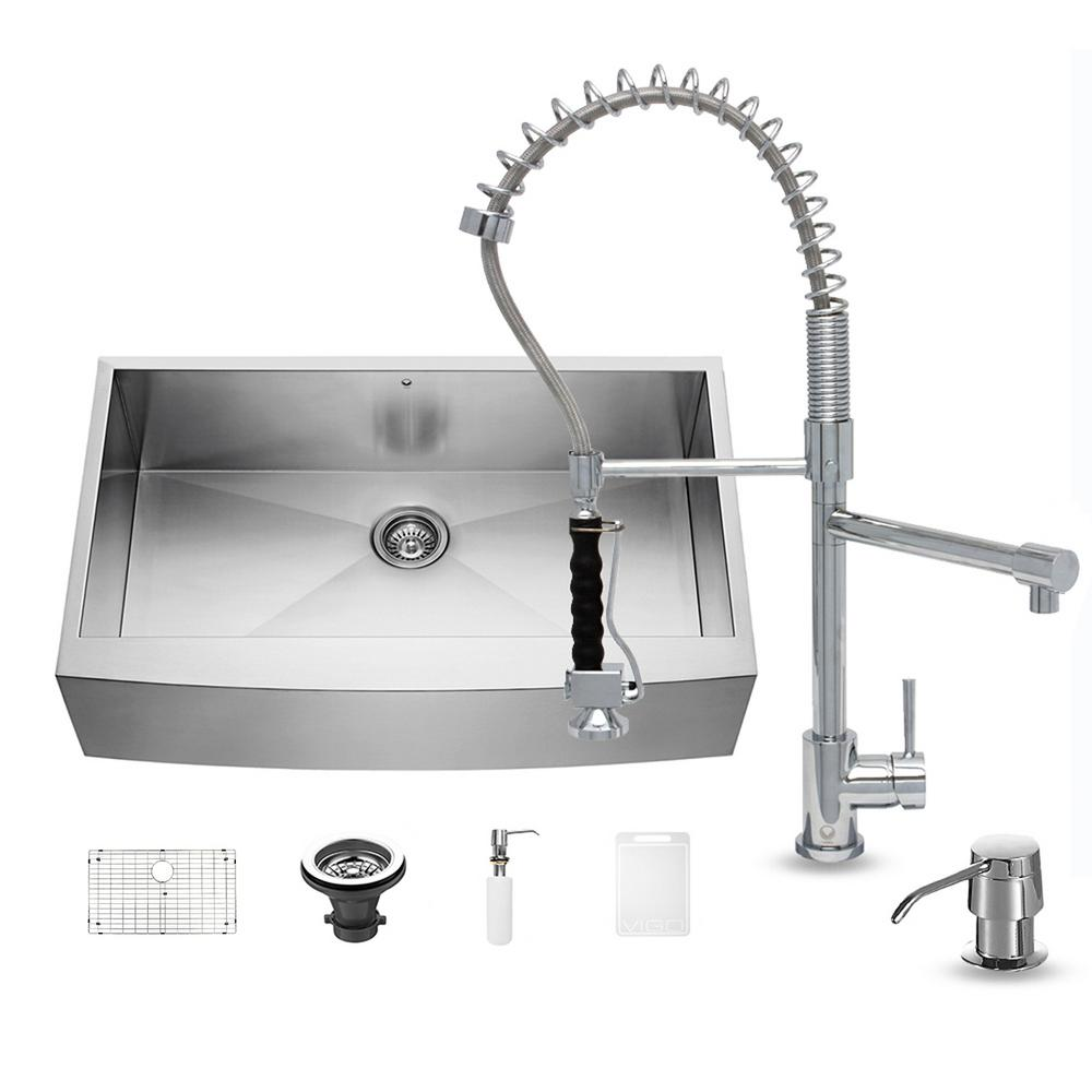 single basin stainless steel kitchen sink vigo all in one farmhouse apron front stainless steel 36 9300
