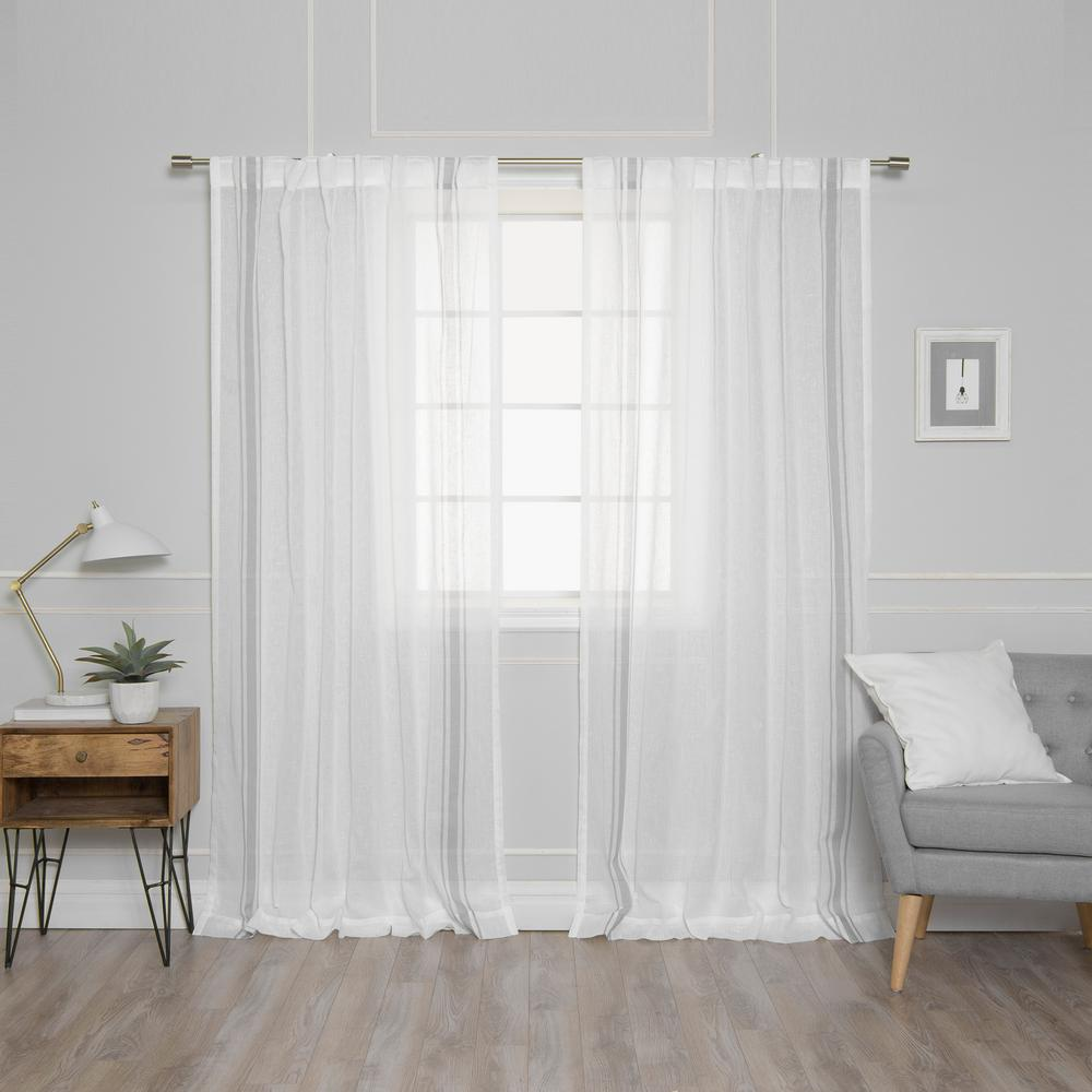L Sheer Faux Linen Grey Triple Stripe Curtains In Ivory