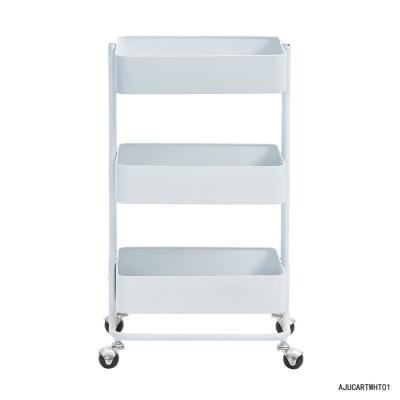 White Bar Cart with Storage