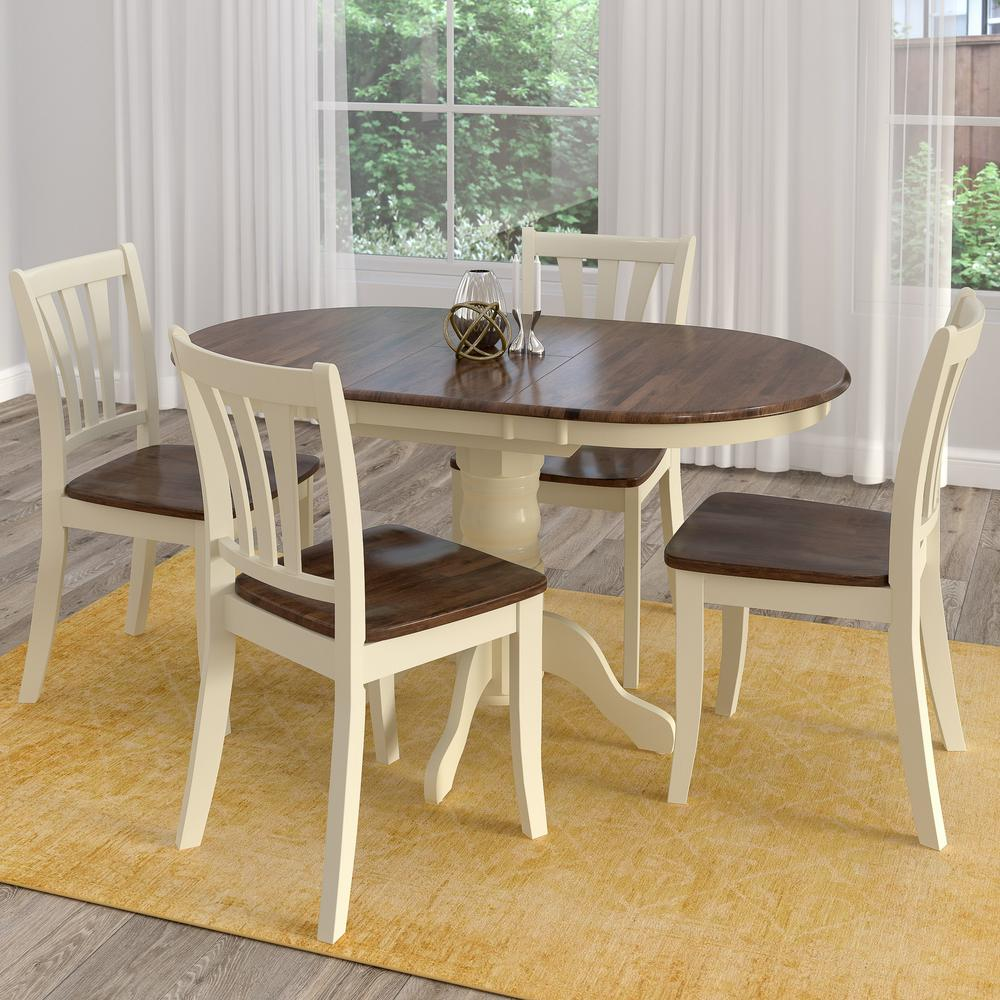 Dark Wood Dining Set: CorLiving Dillon 5-Piece Extendable Dark Brown And Cream