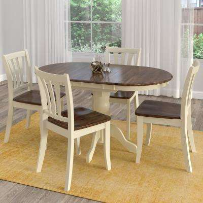 Dillon 5 Piece Extendable Dark Brown And Cream Solid Wood Dining Set