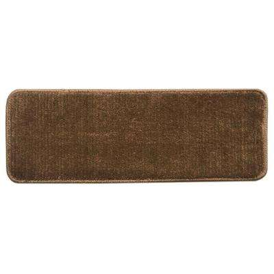 Sweethome Stores Luxury Collection Brown 9 in. x 26 in. Rubber Back Shaggy Stair Tread Cover (Set of 14)