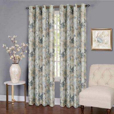 Tranquil Silver Lined Grommet Window Curtain Panel - 50 in. W x 63 in. L