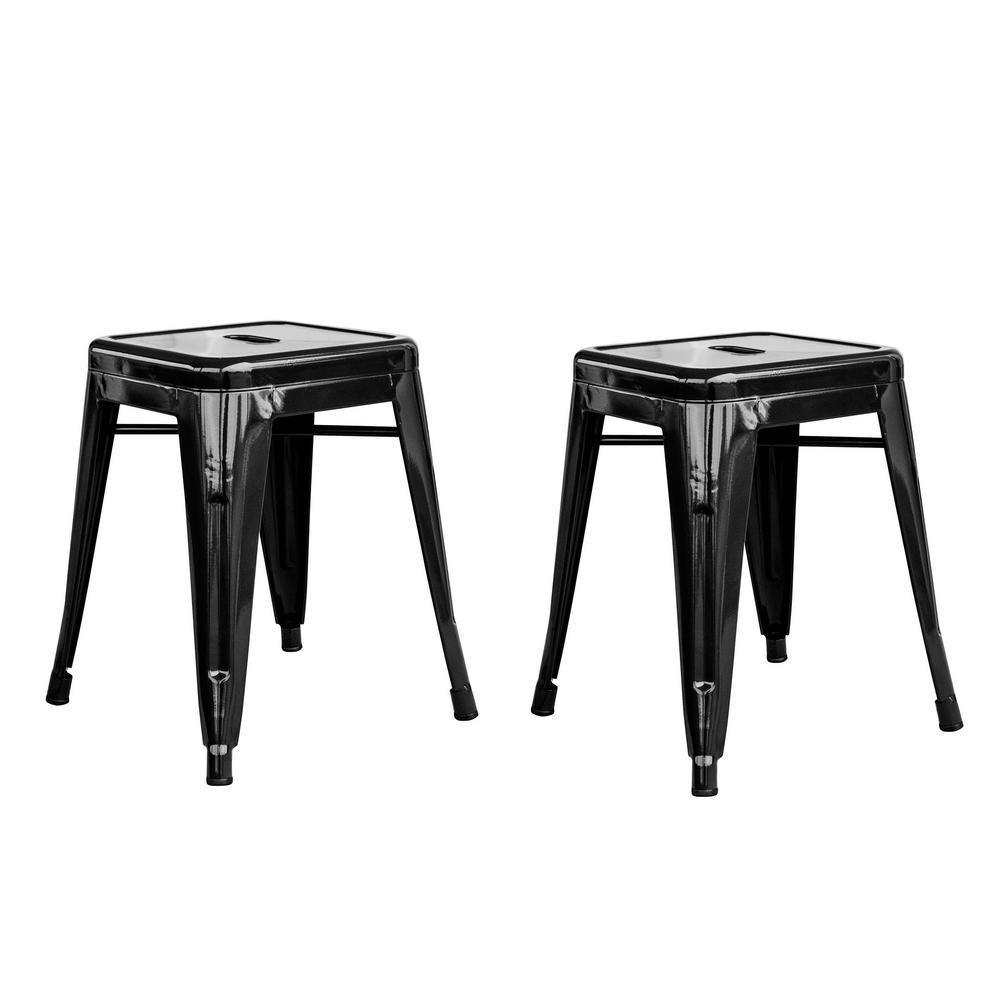 AmeriHome Loft Style 18 in. Black Stackable Metal Bar Stool (Set
