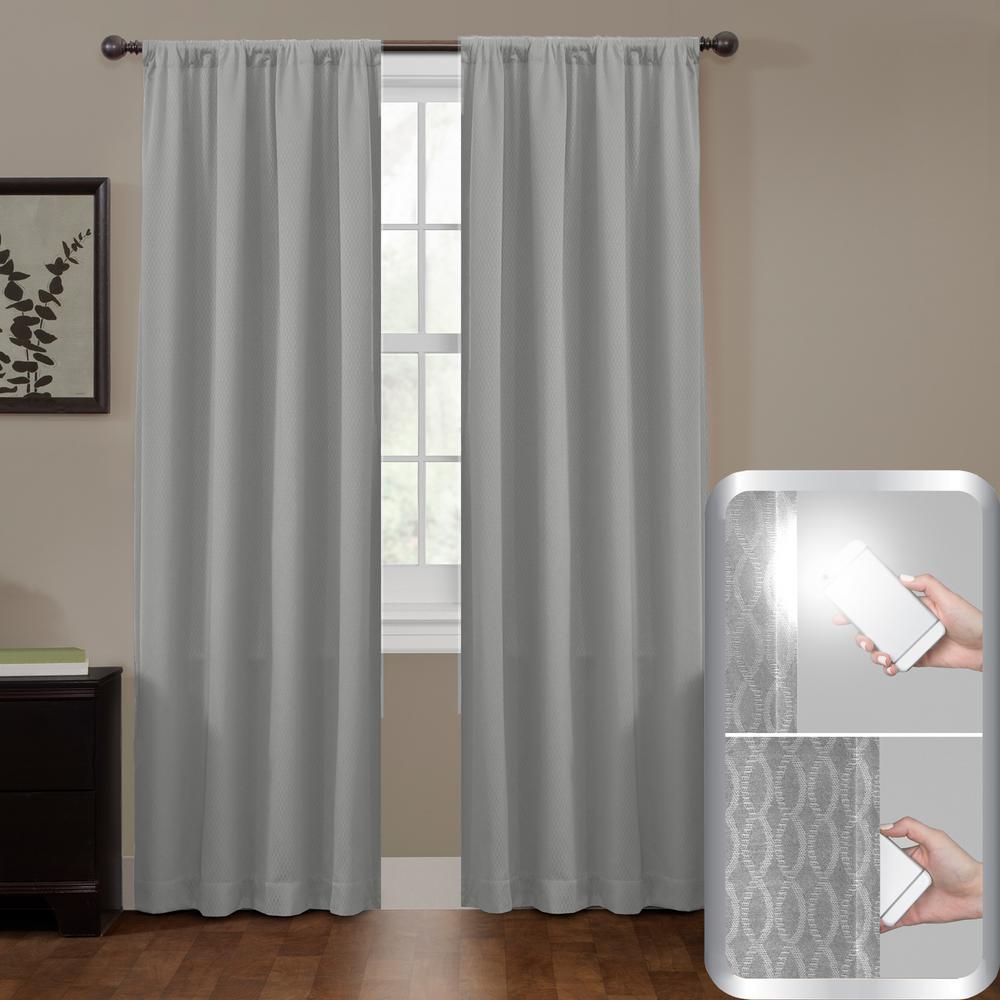 Maytex Blackout Jamie Smart 50 in. W x 84 in. L Curtain Window Curtain Panel in Grey