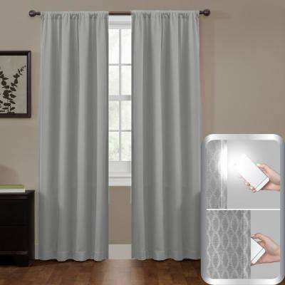 Blackout Jamie Smart 50 in. W x 84 in. L Curtain Window Curtain Panel in Grey