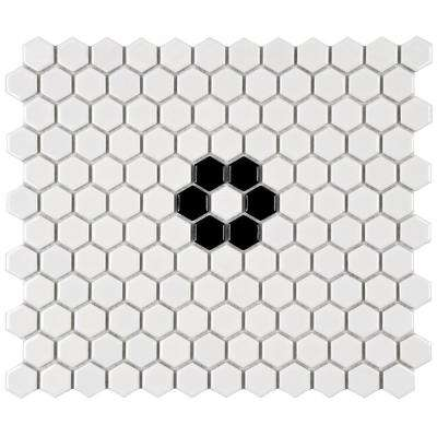 Metro Hex Glossy White with Single Flower 10-1/4 in. x 11-3/4 in. x 5 mm Porcelain Mosaic Tile (8.54 sq. ft. / case)