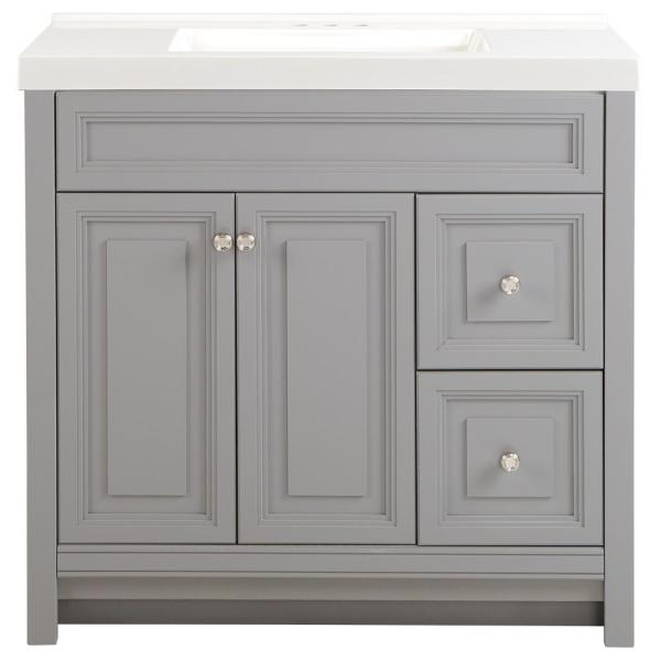 Brinkhill 37 in. W x 22 in. D Bath Vanity in Sterling Gray with Cultured Marble Vanity Top in White with White Sink
