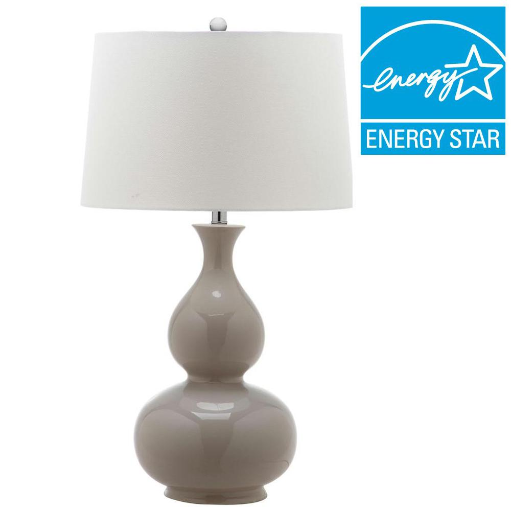 Gray Table Lamp With Off White Shade