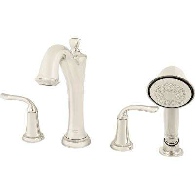Patience 2-Handle Deck-Mount Roman Tub Faucet for Flash Rough-in Valves with Hand Shower in Polished Nickel