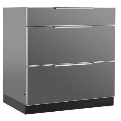 Aluminum Slate 32 in. 3 Drawer 32x33.5x23 in. Outdoor Kitchen Cabinet