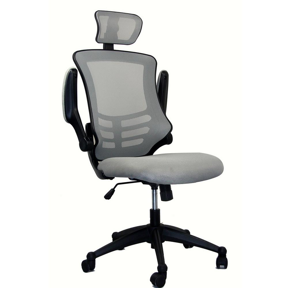 Captivating Silver Grey Modern High Back Mesh Executive Office Chair With Headrest And  Flip Up Arms