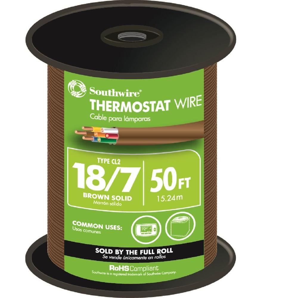southwire 50 ft 18 7 brown solid cu thermostat cable. Black Bedroom Furniture Sets. Home Design Ideas