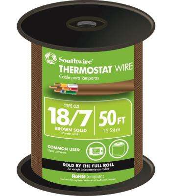 50 ft. 18/7 Brown Solid CU CL2 Thermostat Wire