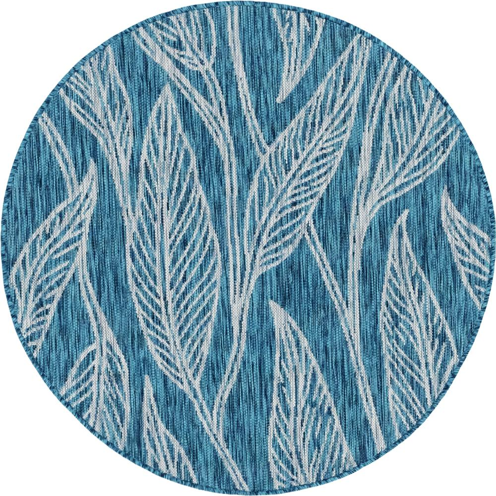Unique Loom Outdoor Leaf Teal 4 Ft. Round Area Rug-3144972