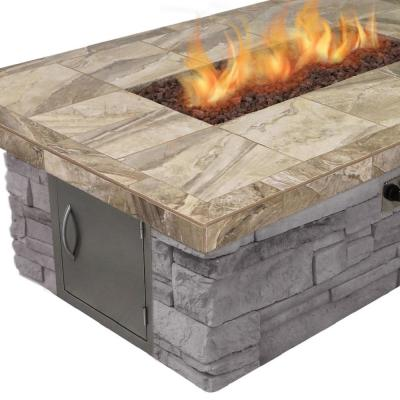 Stone Veneer Gas Fire Pit in Brown with Log Set and Lava Rocks
