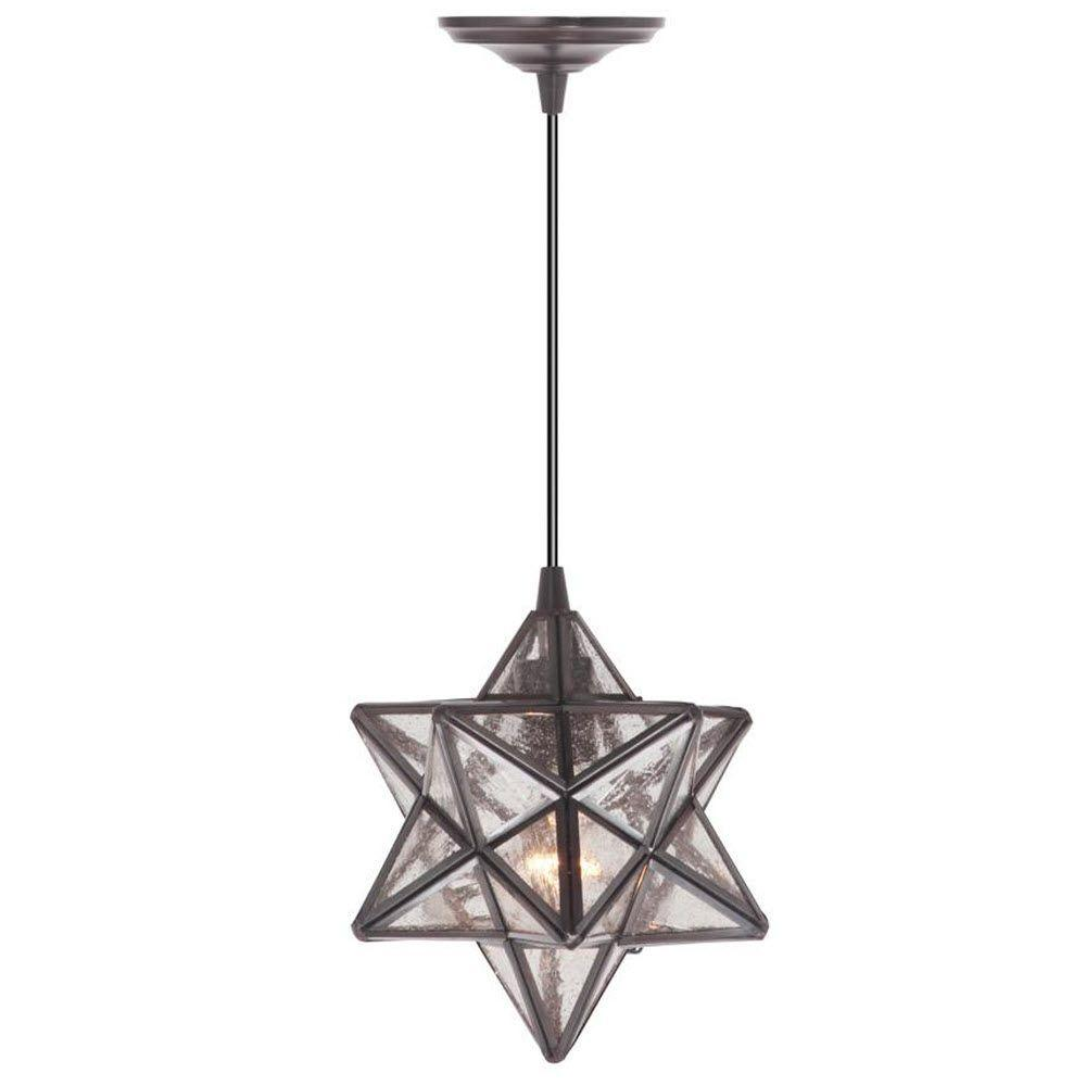 Home Decorators Collection Moravian 1 Light Large Bronze Hardwire Pendant With Clear Glass Shade
