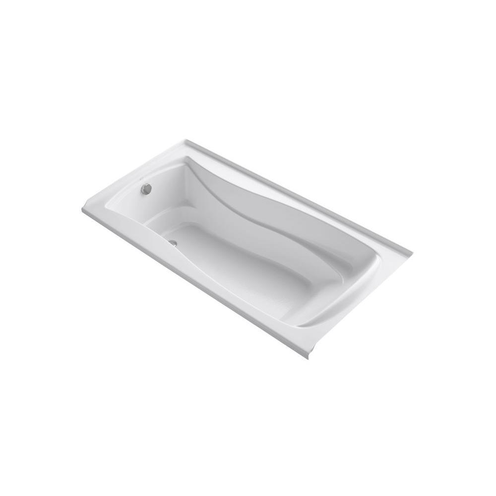 KOHLER Mariposa VibrAcoustic 6 ft. Rectangle Left Drain Soaking Tub in White