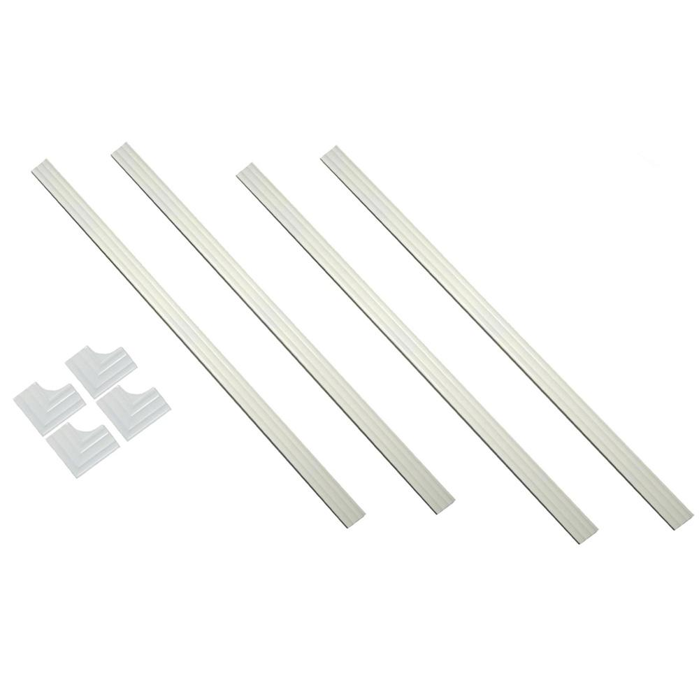 MirrEdge 60 in. x 60 in. Dove White Contemporary Complete Installation Kit