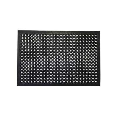 Black 47 in. x 32 in. Rubber Outdoor/Indoor Commercial Drainage Door Mat