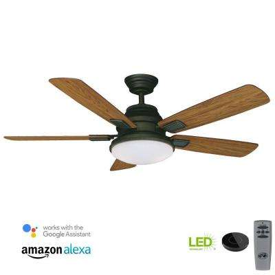 Latham 52 in. LED Oil Rubbed Bronze Ceiling Fan with Light Kit Works with Google Assistant and Alexa