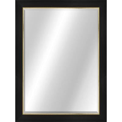 Transitional 22 x 28 Rustic Black with Gold Framed Vanity Mirror