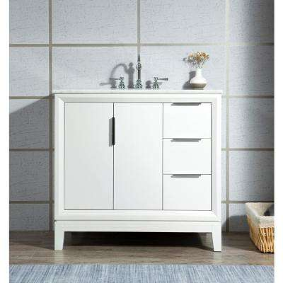 Elizabeth 36 in. Bath Vanity in Pure White with Carrara White Marble Vanity Top with Ceramics White Basins and Faucet