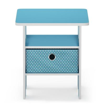 Multipurpose Light Blue Bin Drawer End Table