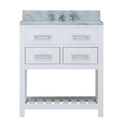 30 in. Vanity in Carrara White with Marble Vanity Top in Carrara White