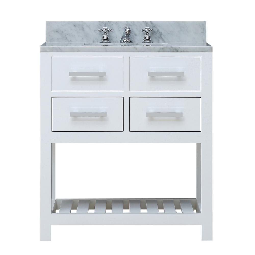Water creation 30 in vanity in carrara white with marble - 30 bathroom vanity with marble top ...