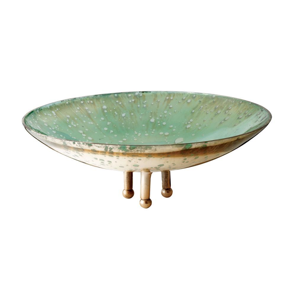 Gilded Sea 13 in. Glass Decorative Bowl in Sea Green