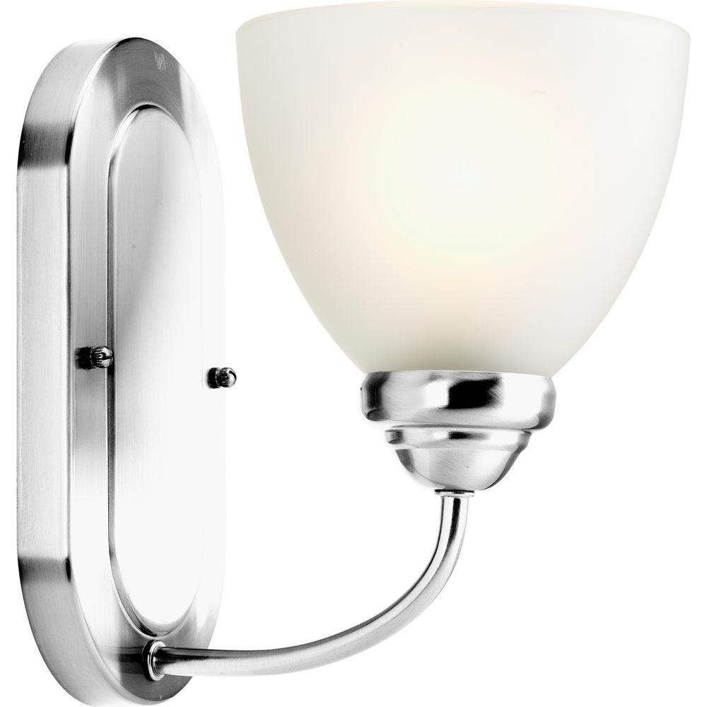 Progress lighting heart collection 1 light polished chrome for Chrome bathroom sconce with shade