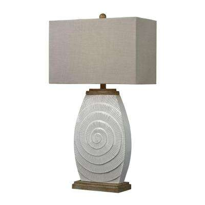 Glazed Ceramic Table Lamp With Natural Wood Tone Accents