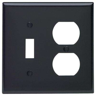 2-Gang Standard Size 1-Toggle 1-Single Receptacle Nylon Combination Wall Plate, Black