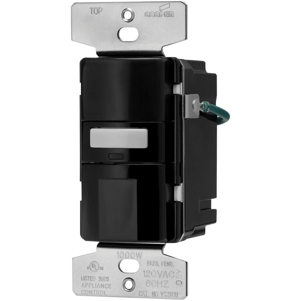 Shop Cooper Wiring Devices 4amp Almond Single Pole Motionactivated Cat 5 568b Diagram Success Darren Criss Eaton Motion Activated Vacancy Sensor Wall Switch Black Vs310u Bk K Rh Homedepot Com