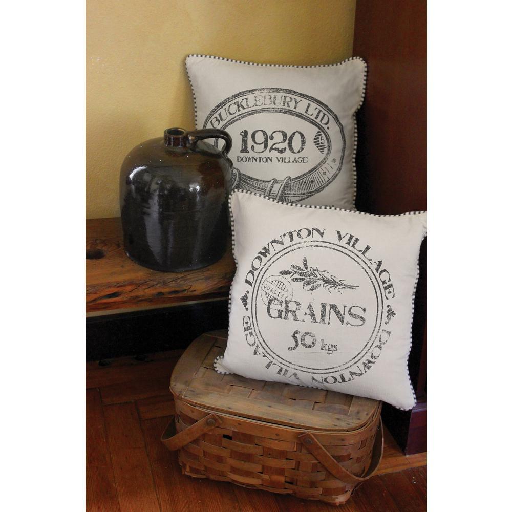 Downton Village Cream/Iron 1920 Decorative Pillow