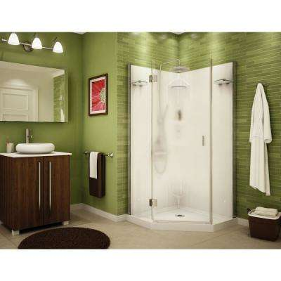 Daylight 36 in. x 36 in. x 72 in. Center Drain Corner Shower Kit in White with Frameless Door in Chrome