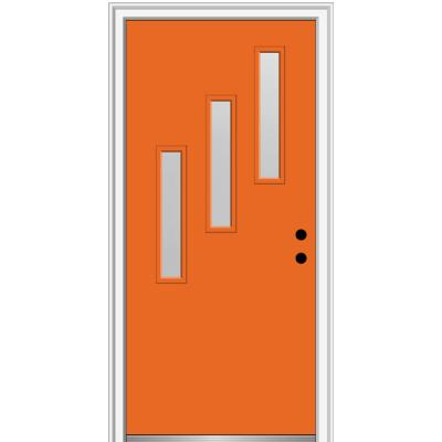 36 in. x 80 in. Davina Left-Hand Inswing 3-Lite Frosted Glass Painted Steel Prehung Front Door on 4-9/16 in. Frame