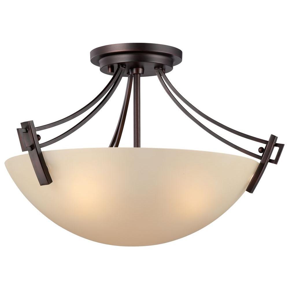 Wright 3-Light Espresso Ceiling Semi-Flush Mount Light Fixture